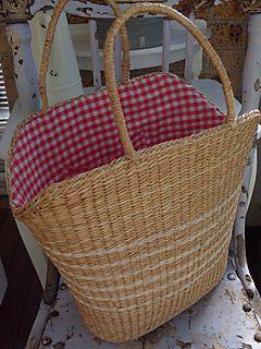 Vintage gingham basket