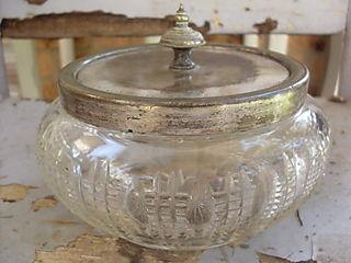 Glass silver bowl